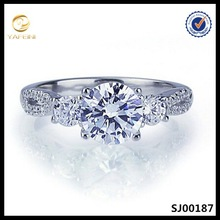 1 round carati brillante cz argento sterling placcato rodio anello di fidanzamento matrimonio