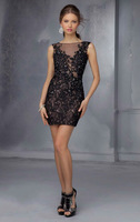New Design Bateau Celebrity Dresses for Sale Black Lace Appliqued Beaded Mini Tight Sexy Sheer Back Cocktail Dress