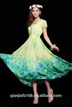 Womens border printed chiffon long dress short sleeve dress smocking waist dress