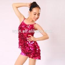 girls' latin dress- latin dance wear-pretty sequin red stage wear