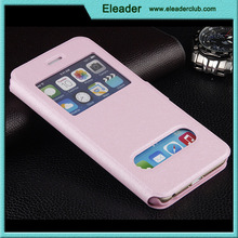 slim window leather flip cover case for iphone 6