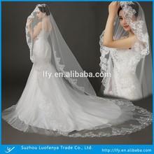 White Lace Hem Three Metre Length Long Lace Bridal Long Veil