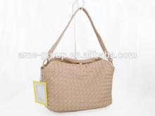 Fashionable Classical Beige Knitting PU Ladies Tote Bag