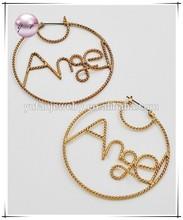 "Gold Tone Finish / Lead & Nickel Compliant / Message: ""angel"" / Pin Catch Earring Set"