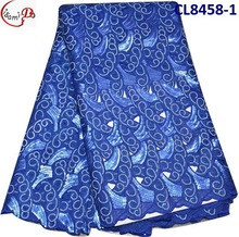 100 % cotton voile african heavy lace fabric wedding lace material CL8458-1 royal blue