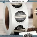 2014 china calidad de diseño de la forma redonda de papel laminado roll etiqueta de café caliente de la venta