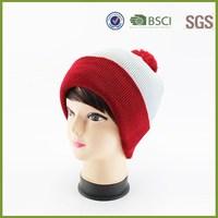 Plain Two Tone Custom Knitted Boy Pom Pom Beanie Hat