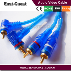 Transparent 2 rca male to angle male car cable audio