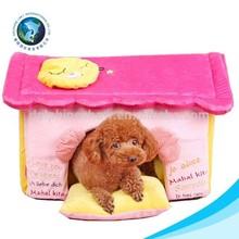 Fashion pink plush dog kennel soft dog home plush bed for dog