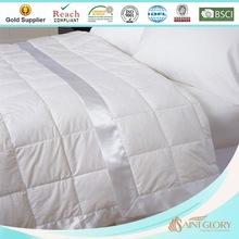 solid color high quality down blanket with satin trim