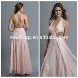 Beaded waist chiffon maxi dress, halter neck dress patterns, real sample new evening dress