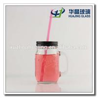 400ml mason jar drinking glass cup with handle tin lid 13oz