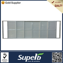 Superb white fixed louver sliding aluminum shutter door
