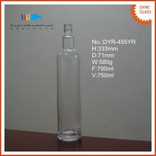 750ml cylinder shaped embossed crsytal glass bottle making company
