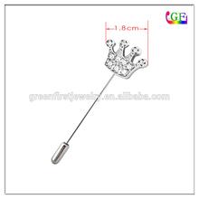 Custom metal crystal collar stick pin