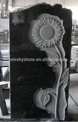 sunflower carving black granite headstone