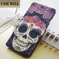 SKULL wallet case for iphone 6 4.7, drawing leather phone case for iphone 6