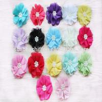 hot sell handmade chiffon fabric flower with beads center-pearl rhinestone center shabby chiffon flowers