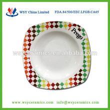 De la FDA de la categoría alimenticia LFGB CE 9 pulgadas cuadrada de porcelana plato para el hotel y restaurante