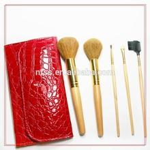 shenzhen 5pcs mini travel makeup brush set with cosmetic bag make up brushes