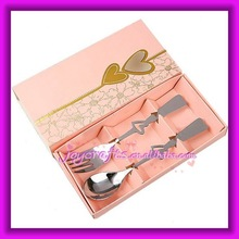 Wedding Favors Pink Box Hearts Together Heart Design Spoon and Fork