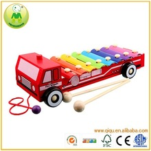Popular Wooden 8 Tone Pull Car Child Xylophone