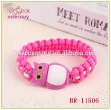 New fashion pink owl shaped USB flash driver survival bracelet