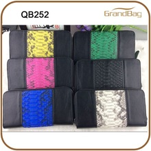 genuine leather with snake skin decoration zipper wallet for women