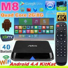 Amlogic S802 quad core tv box M8 skype,XMBC14.0,MIRACAST,DLNA/ remote control Manufacturer for media player Full HD 1080P