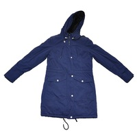 Blue windproof woman's long winter coat jacket