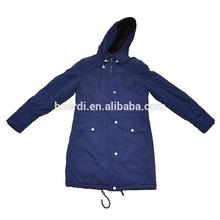 Blue windproof woman's long winter coat jacket