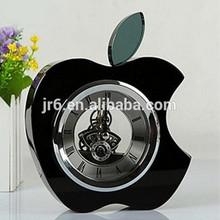 Black apple shaped clock, K9 crystal desk apple clock