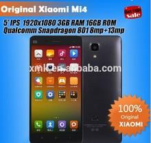 "Original Quad Core Xiaomi Mi4 M4 Mi3S Mobile Phone 5"" Qualcomm Snapdragon 801 1920X1080P JDI 3GB RAM 16GB 64GB ROM 8MP 13MP GPS"
