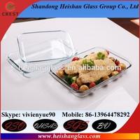 1.5L L/C TT rectangular 400 degree resistant no bubble pyrex clear glass bake dish