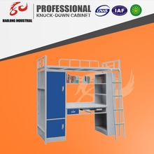 good quality powder coating bunk bed with double bed