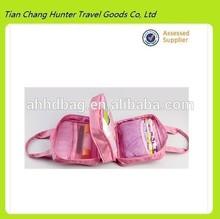 high quality polyester waterproof travel organizer makeup bag tote wash travel bag organizer