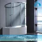 AQSC1601CL Aluminium sliding glass shower screen for bath tub