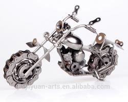 Retro Motorcycle Model, Metal Material, Electrolytic Plating Finish