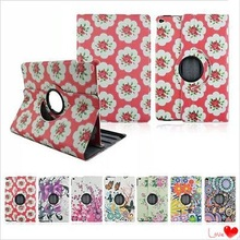Painted Small Floral Country Style Swivel Bracket Protective Tablet Case for iPad Air 2