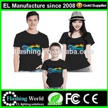 panel with acrylic frame EL flashing light shirt kids led t-shirts/Flashing Lights up EL Panel Led tshirt