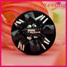 Vintage garment black color rhinestone bead shank button for dress WBK-1385