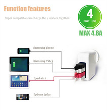 4 port USB4.8A multi cell phone charger