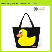 China Supplier Women Canvas Cute Yellow Duck Tote Bag