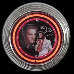 Elvis neon wall clock for music lovers