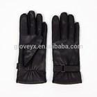 high quality outside sewning black leather glove, women glove deer skin
