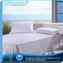 full bed 2014 jacquard hotel 100% stripe sateen bleached plain bed sheet