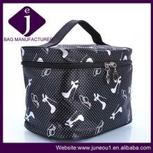 High quality fashion black ladies cosmetic bags beautiful satin makeup bag travel wash bag with printing pumps CB040