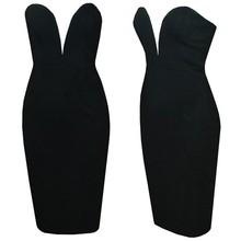 Women Sleeveless V Neck Pure Color Slim Cocktail Party women black sex night Dress SV006768 #