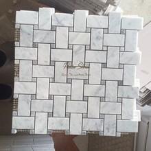 Good Price White Carrara Marble Mosaic Basket Weave Tile