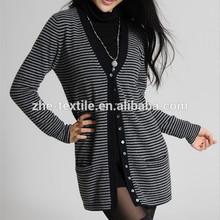 100% cashmere ladies' long cardigan border fashion 2015A/W